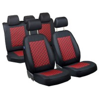 CAR SEAT COVERS FOR ALFA ROMEO 145 FULL SET - BLACK RED 3D EFFECT